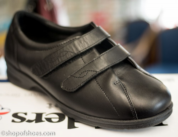 Kerry dual fit extra wide fit Padders 4E/6E easy access velcro black leather shoe.